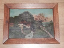 Vintage German Watermill Painting on Wood in Stuttgart, GE