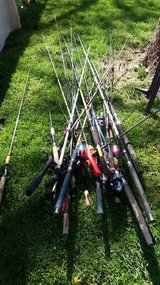 Lots of fishing poles in Fort Riley, Kansas