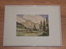 Watercolor of German Mountains & Field in Stuttgart, GE