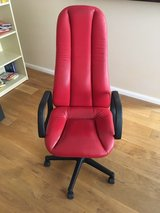 Red Leather Office Chair in Ramstein, Germany