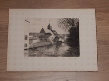 Woodblock Print of Church by River in Stuttgart, GE