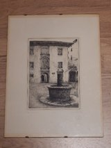 Woodblock Print of Italian Villa & Well in Stuttgart, GE