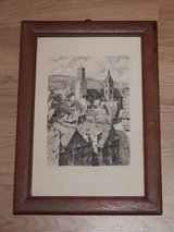 Woodblock Print of Stuttgart Churches in Stuttgart, GE