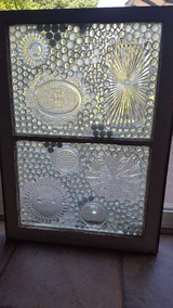 Vintage wood window upcycled into stainglass in Lockport, Illinois