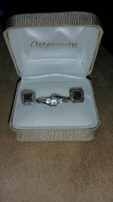 white sapphire ring and black diamond earrings set in Elizabethtown, Kentucky