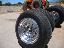 4 AMERICAN RACING MAGS WITH GOOD TIRES, CAPS AND NEW ACORN LUG NUTS in Alamogordo, New Mexico