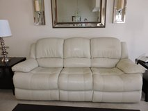 White Leather Electric Dual Recliner Couch in Bartlett, Illinois