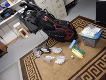 Golf Clubs, Budweiser Bag, Practice Swing Trainer, New and Used Golf Balls. plus extras in Morris, Illinois