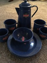 Coleman enamel coated percolator, mugs, plates, and bowls in Aurora, Illinois