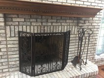 Frontgate Solid Wrought Iron Fireplace Grill and Tools, Dark Brown in Glendale Heights, Illinois