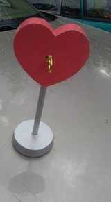 Large Coral Pink and Silver Heart Jewelry Stand in Ottumwa, Iowa