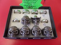 Titanium steel Harley skull rings in Cherry Point, North Carolina