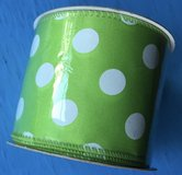 *NEW* Wired Craft Ribbon - 18ft long - Green w/White Polka Dots in Clarksville, Tennessee