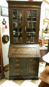 Inlay Oak Drop Leaf Secretary with Beveled Glass Doors in Fort Leonard Wood, Missouri