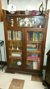 Oak Book Cabinet with Mirror and adjustable Shelves in Fort Leonard Wood, Missouri