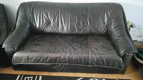 Real Leather (Bed) Couch with 2 Leather Chairs in Ramstein, Germany