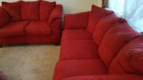 Red couch with matching loveseat. in Glendale Heights, Illinois