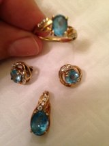 BLUE TOPAZ & 18 K GOLD WITH DIAMONDS, RING,EARRINGS, NECKLESS in Beaufort, South Carolina