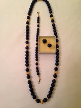 BLUE LAPIS BEADED & 18 K GOLD, NECKLESS, BRACELET, EARINGS PERICED in Beaufort, South Carolina