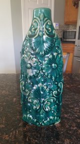 Gorgeous floral green teal vase in New Lenox, Illinois