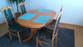 Extendable Real Beechwood Kitchen Table with 4 Chairs in Ramstein, Germany