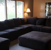 Brown microfiber sectional couch in Ottawa, Illinois