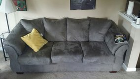 Three seat couch, grey/green in Fort Lewis, Washington