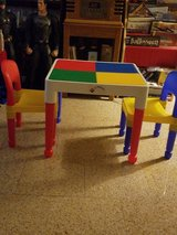 Tot Tutors lego table with legos in Naperville, Illinois