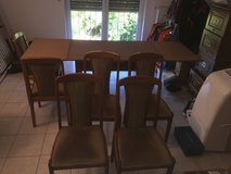 Dining Room Hardwood drop-leaf table, 6 chairs in Ramstein, Germany
