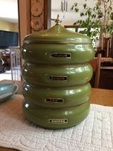 Mid century modern stacking kitchen canisters in St. Charles, Illinois