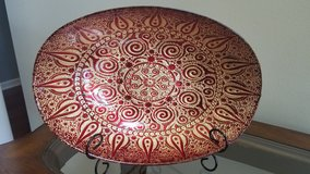 Pier one imports red decorative bowl plate in Naperville, Illinois