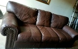 Genuine Leather Couch Reduced ! in Tacoma, Washington