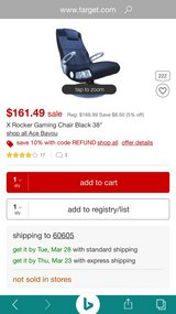 X Rocker Gaming Chair Black Leather Like New in Bolingbrook, Illinois