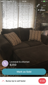 Mocha loveseat & ottoman in Fort Carson, Colorado