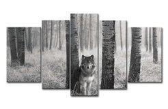 5 panel wolf wooden canvas wall set in Bellaire, Texas