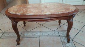 Solid Chippendale oak table with genuine marble top in Spangdahlem, Germany