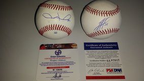 Chicago Cubs Autographed Baseballs Jason Hammel and Junior Lake in Naperville, Illinois