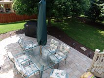 Patio Furniture includes Table, Chairs, and Cushions (Umbrella broken). Weber Gas Grill Availabl... in Naperville, Illinois