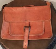Distressed Camel Leather Briefcase in Okinawa, Japan