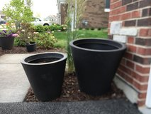 "2 - Dark Brown Heavy Duty Plastic Outdoor Planters (18""h x 20""w and 14.5""h x 16"" w) with potting... in West Orange, New Jersey"