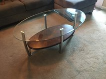 Beautiful Glass Coffee Table with Wooden Shelf OBO in Fort Rucker, Alabama