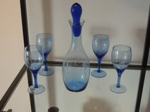 Decanter-4 goblets-light blue in Baumholder, GE