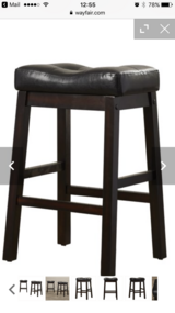 "24"" Espresso and Black Leather Stools, Pair in Bolling AFB, DC"