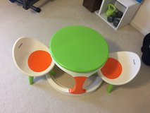 Kids table and chairs. Converts to baby walker in Fort Rucker, Alabama