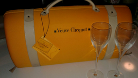 Veuve Cliequot Travel Case With 2 custom champagne flutes in Phoenix, Arizona
