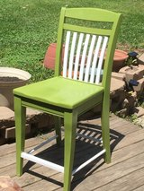 Reclaimed and refinished kitchen stool in Virgin olive and flat white. in Naperville, Illinois