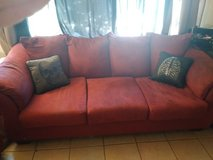 red couch set in Yucca Valley, California