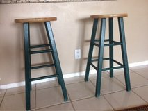Wooden bar stools in Huntington Beach, California