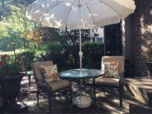 : ) Patio Furniture Set >>> New Umbrella w/Stand, Table w/ 2 Chairs & Cushions!!! in Glendale Heights, Illinois