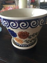 Polish pottery flower pot in Fort Bragg, North Carolina